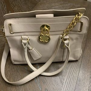Emma Fox taupe leather with gold hardware tote bag
